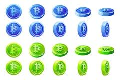 Mynt för blått och för gräsplan 3D Bitcoin för vektoranimeringrotation Digital eller faktisk elektronisk kassa för valutor och stock illustrationer