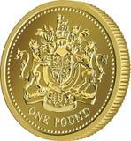 Mynt för brittiska pengar för vektor guld- ett pund med vapenskölden vektor illustrationer