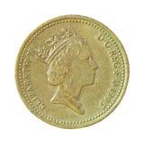 Mynt för brittiskt pund på vit Arkivbilder