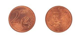 Mynt för cent för euro 2 Arkivbild