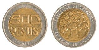 Mynt för 500 colombianska pesos Arkivfoto