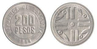 Mynt för 200 colombianska pesos royaltyfria bilder