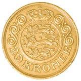 mynt för dansk krone 20 Arkivfoton