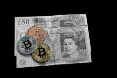 Mynt för Digital crypto valutabit Royaltyfria Bilder