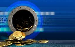 mynt för dollar 3d över cyber Royaltyfri Fotografi