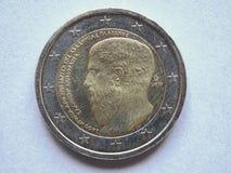 Mynt för euro (EUR) från Grekland arkivbild