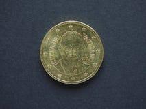 Mynt för euro (EUR), valuta av europeisk union (EU) Arkivbild
