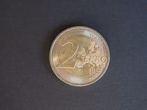 mynt för euro 2, europeisk union Arkivbild