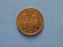 mynt för euro 50, europeisk union, Spanien Royaltyfria Bilder