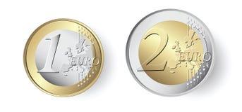 mynt för euro 1 och 2 vektor illustrationer