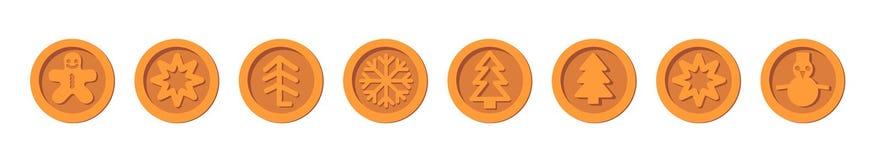 Mynt för ferie för nytt år för vinter för Santa Claus brons crypto valutajul vektoruppsättningen för julmässor och marknader vektor illustrationer