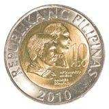 Mynt för filippinsk peso 10 Arkivfoto