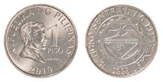 1 mynt för filippinsk peso arkivfoton