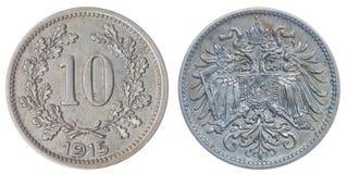 10 mynt för heller som 1915 isoleras på vit bakgrund, Austro-Hungari Royaltyfria Bilder