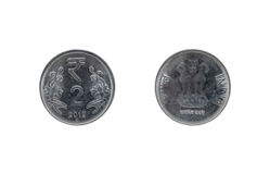 Mynt för indisk rupie två royaltyfri fotografi
