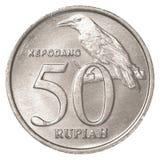 Mynt för indonesisk Rupiah 50 Arkivfoton