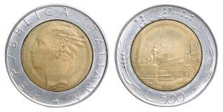 Mynt för italiensk lira Arkivfoto