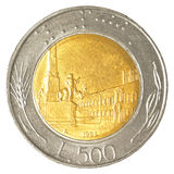 mynt för italiensk lira 500 Arkivbild