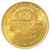 mynt för italiensk lira 200 Arkivfoto
