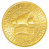 mynt för italiensk lira 200 Arkivfoton