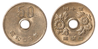 mynt för japansk yen 50 Fotografering för Bildbyråer