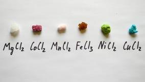 Mynt för klorid för mangan för klorid för kobolt för kloridmagnesiumklorid ferric, koppar arkivbild