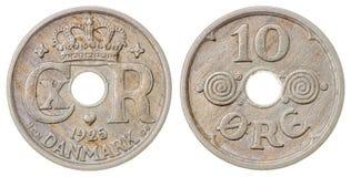 10 mynt för malm som 1925 isoleras på vit bakgrund, Danmark Royaltyfri Fotografi