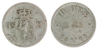 10 mynt för malm som 1871 isoleras på vit bakgrund, Norge Royaltyfria Foton