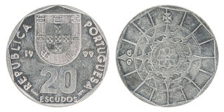 Mynt för portugisisk escudo Arkivfoto