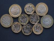 mynt för pund 2, Förenade kungariket Royaltyfria Bilder