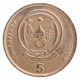 Mynt för Rwanda franc Fotografering för Bildbyråer