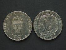 1 mynt för svensk Krona (SEK) Arkivbild