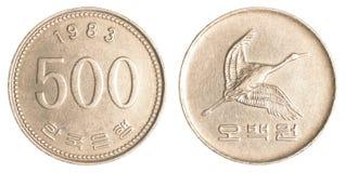 mynt för 500 Sydkoreanwons royaltyfri bild