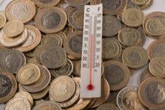 Mynt för termometer och för turkisk Lira Royaltyfri Bild