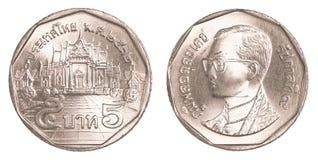 mynt för thai baht 5 royaltyfria foton