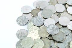 Mynt för Thailand ` s 1 baht på vit bakgrund fotografering för bildbyråer