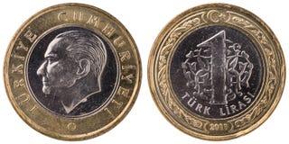1 mynt för turkisk lira, 2011, båda sidor Arkivfoto