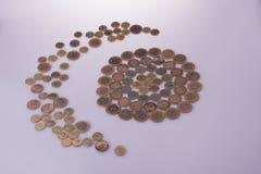 Mynt för turkisk Lira formar en halvmånformigrunda en cirkel Arkivfoton