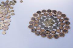 Mynt för turkisk Lira formar en rund cirkelform Royaltyfria Foton