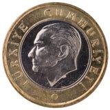 1 mynt för turkisk lira, 2011, framsida Arkivbild