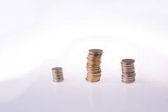Mynt för turkisk Lira på tre högar Royaltyfri Fotografi