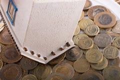 Mynt för turkisk Lira vid sidan av ett modellhus Royaltyfri Fotografi