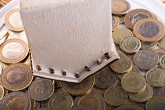 Mynt för turkisk Lira vid sidan av ett modellhus Royaltyfria Foton