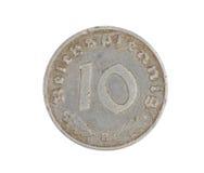 Mynt för tysk som 10 isoleras på vit. Framdel. Royaltyfri Fotografi