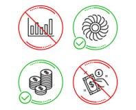 Mynt-, fanmotor och upps?ttning f?r symboler f?r kolonndiagram Betalningmetodtecken Kassapengar, ventilator, finansiell graf vekt vektor illustrationer