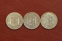 mynt fem gammala pesetas spain Arkivfoto