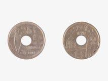 Mynt från Spanien Fotografering för Bildbyråer