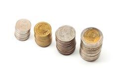 Mynt från thailand. Arkivbilder