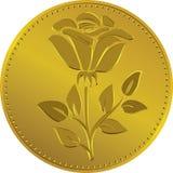 Mynt för brittiska pengar för vektor guld- med rosblomman Fotografering för Bildbyråer