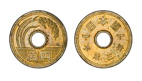 Mynt-, framdel- och baksidaframsidor för japansk yen fem Royaltyfri Bild